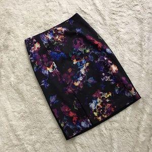 Ellen Tracy Floral Pattern Black Pencil Skirt